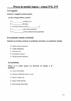 Interactive worksheet Prova di analisi logica