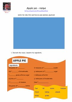 Interactive worksheet Apple pie - recipe