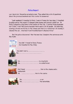 Interactive worksheet A police report