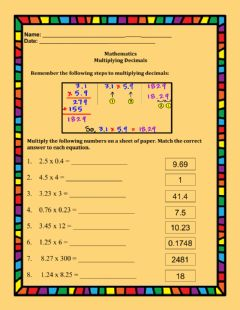 Interactive worksheet Multiplying Decimals