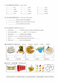 Interactive worksheet Many Much Some Any