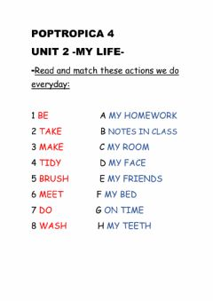 Interactive worksheet Everyday actions matching