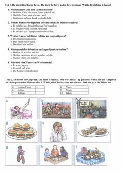 Interactive worksheet Hörverstehen, A2
