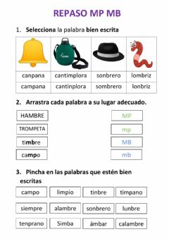 Interactive worksheet Repaso mp-mb y Presente, pasado y futuro