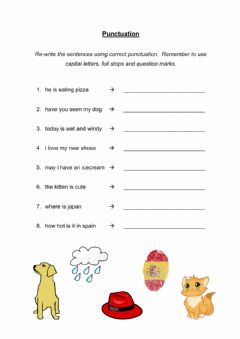 Interactive worksheet Correct the Punctuation