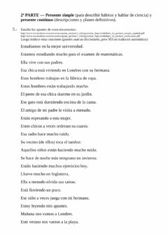 Ficha interactiva Review work 4 - Translation from Spanish (present simple & continuous)