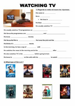 Interactive worksheet Watching TV