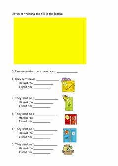 Interactive worksheet Dear zoo song fill in the blanks