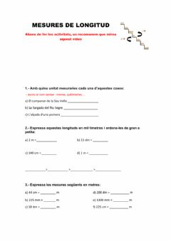 Interactive worksheet Unitats de longitud