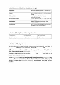 Interactive worksheet Renaissance and reformation unit