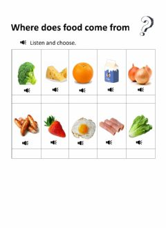 Interactive worksheet Food from plants or from animals