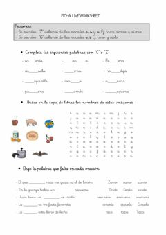Interactive worksheet Uso de la c y z