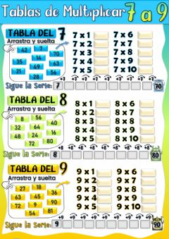 Interactive worksheet Tablas de Multiplicar del 7, 8 y 9.