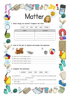 Interactive worksheet Matter Y3