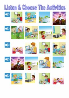 Interactive worksheet Listen and choose free time activities tiger 6