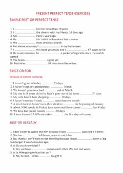 Interactive worksheet Perfect Tense Exercises