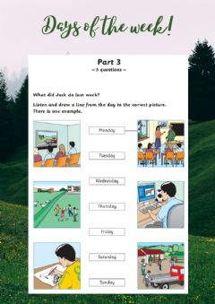 Interactive worksheet MOVERS Listening: Days of the week