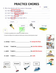 Interactive worksheet Chores and cleaning items