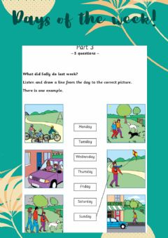 Interactive worksheet MOVERS Listening: Days of the week 2