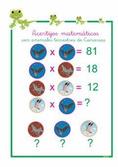 Interactive worksheet Acertijos matemáticos de Canarias tablas