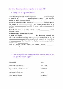 Interactive worksheet España Siglo XIX