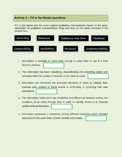 Ficha interactiva Qualitative Characteristics of Useful Information