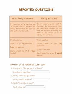 Interactive worksheet Reported questions