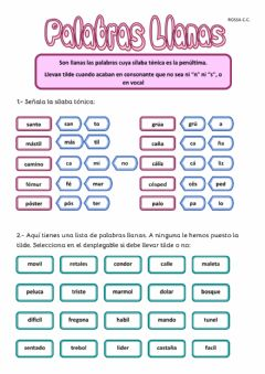 Interactive worksheet palabras llanas
