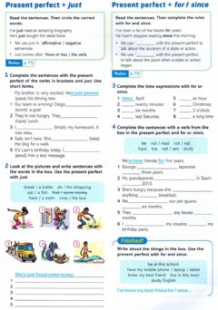 Interactive worksheet Present perfect (just- for-since)