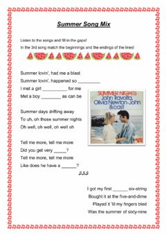 Interactive worksheet Summer song mix