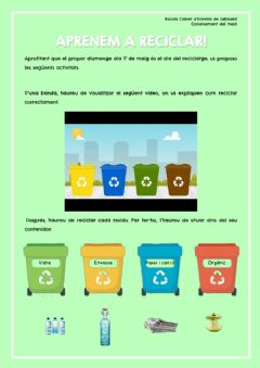 Interactive worksheet Aprenem a reciclar!
