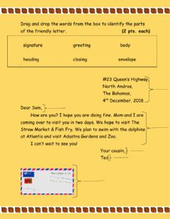 Interactive worksheet Friendly Letter