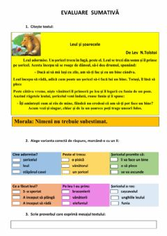 Interactive worksheet Evaluare sumativa