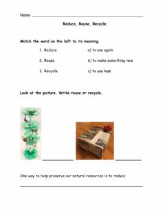 Interactive worksheet Recycle, Reuse, Reduce