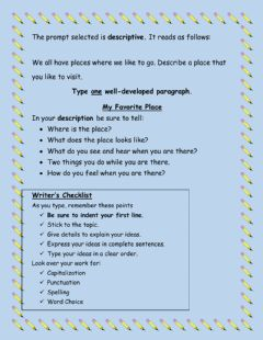Interactive worksheet Descriptive Writing