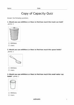 Interactive worksheet Capacity Quiz