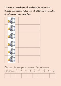 Interactive worksheet Dictado de números 1-20