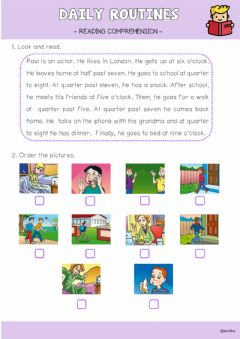 Interactive worksheet Daily Routines reading