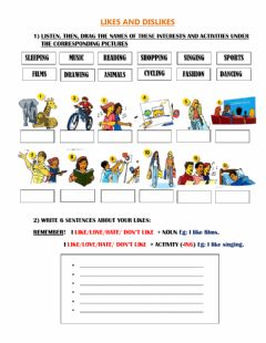 Interactive worksheet Interests and likes
