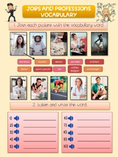 Interactive worksheet Jobs and professions