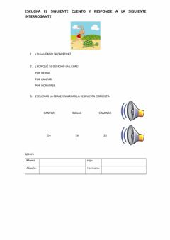 Interactive worksheet Cuento