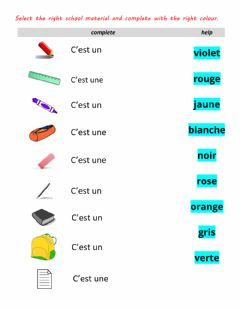 Interactive worksheet Materiel fournitures scolaires 2