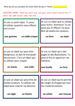 Interactive worksheet Lecture comprehension-devinettes (materiel scolaire-fournitures)