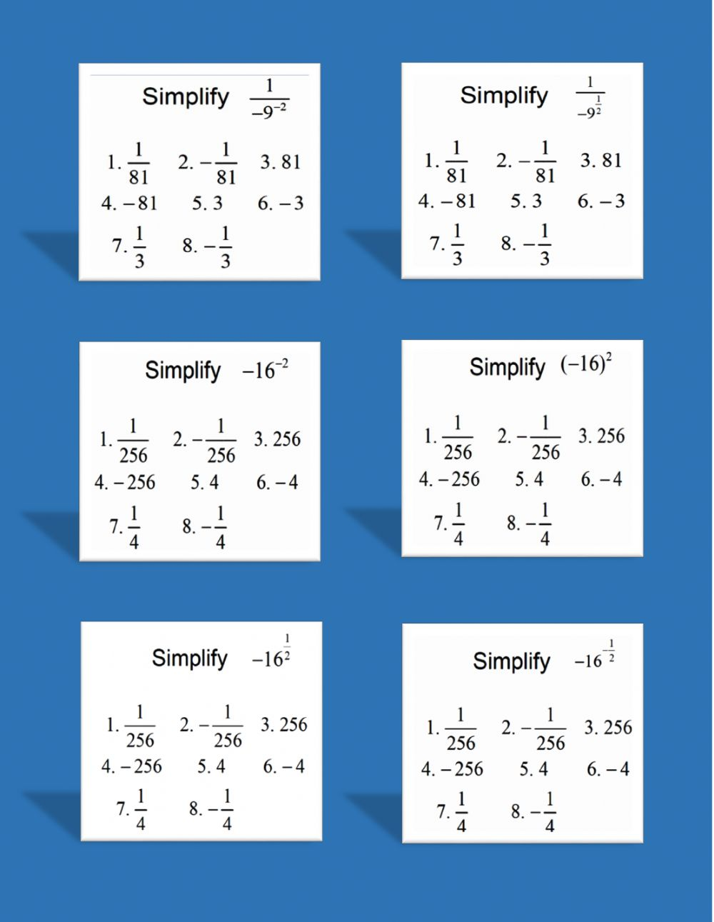 Negative and Rational (Fractional) Exponents worksheet