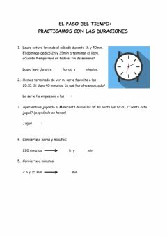 Interactive worksheet La duración: horas y minutos