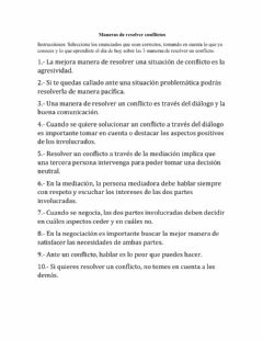 Interactive worksheet Maneras de resolver conflictos
