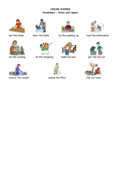 Interactive worksheet House chores - vocabulary sheet