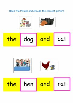 Interactive worksheet Read phrase and choose picture