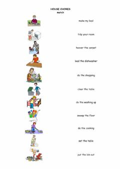 Interactive worksheet House chores - matching exercise