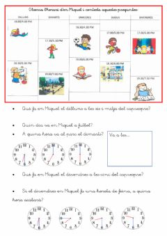 Interactive worksheet Lectura d'horari